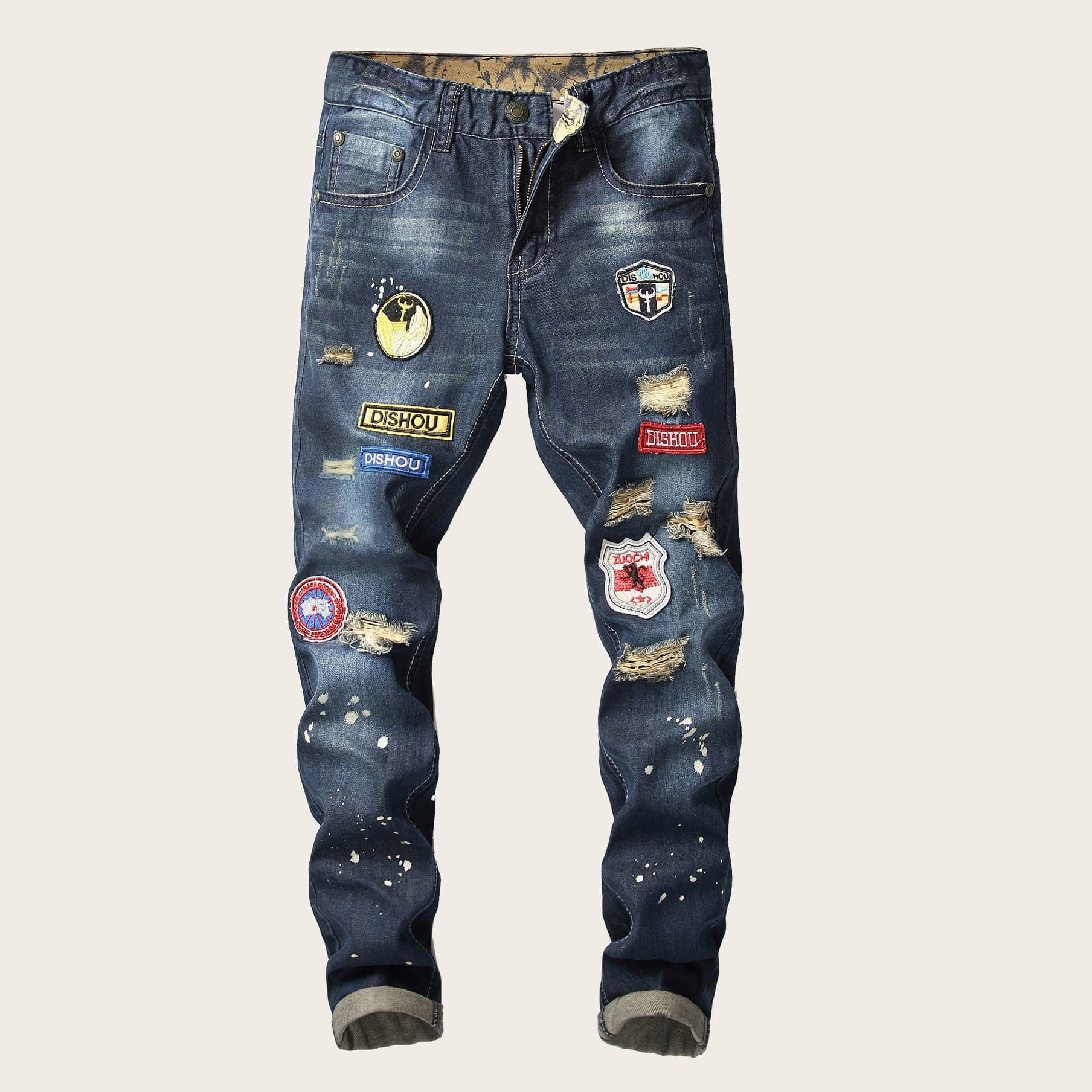 Blauw Casual Heren Jeans Patched