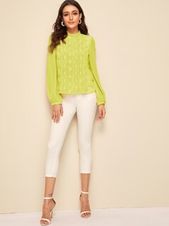 Mock-neck Guipure Lace Applique Blouse