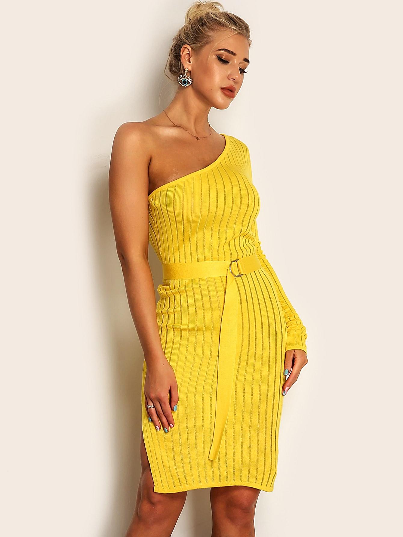Фото - Joyfunear трикотажное платье-карандаш на одно плечо с поясом от SheIn цвет жёлтые