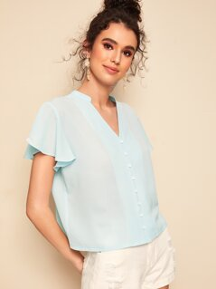 Solid Butterfly Sleeve Button Front Blouse