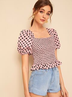 Polka-dot Puff Sleeve Ruffle Hem Shirred Blouse