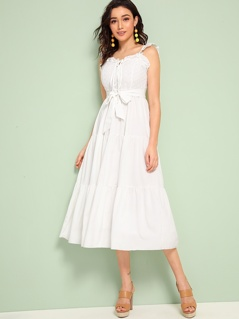 Frill Trim Tie Front Belted Layered Schiffy Dress