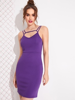 Solid Criss-cross Back Cut-out Bodycon Dress