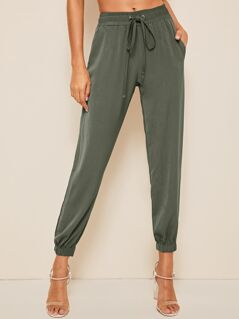 Solid Drawstring Waist Crop Tapered Pants