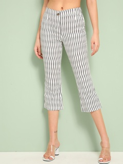 Slant Pocket Striped Print Capris Pants