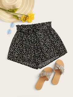 Daisy Floral Paperbag Waist Belted Shorts