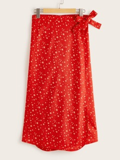 Neon Orange Allover Print Tie Side Wrap Skirt