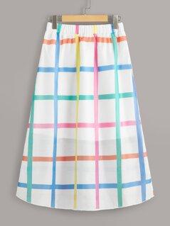 Grid Print A-line Skirt