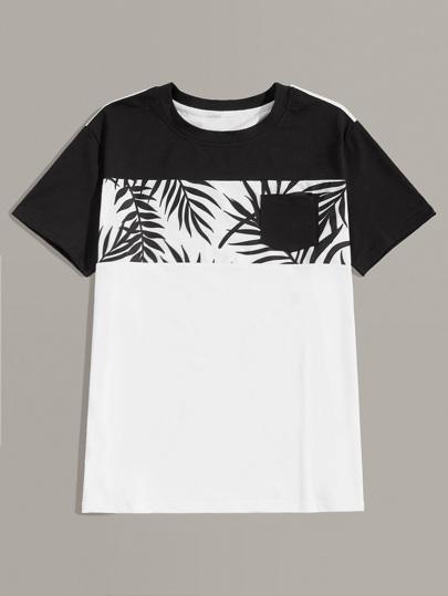 Estampado Hombres De Con Camiseta Hoja Costura vwyn0OmN8