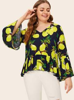 Plus Lemon Print Flounce Sleeve Peplum Top