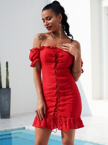 Glamaker Lace Up Front Ruffle Hem Bardot Schiffy Dress