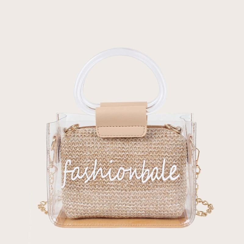 Slogan Print Clear Bag With Woven Clutch, Khaki