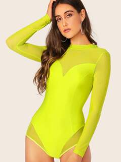 Neon Lime Form Fitted Mesh Overlay Bodysuit