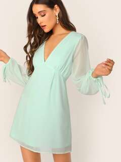 Drawstring Mesh Sleeve Plunge Dress