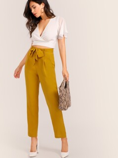 Slant Pocket Self Belted Pants