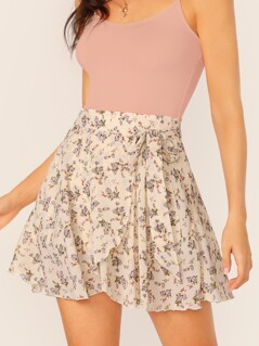 Knot Front Ruffle Trim Ditsy Floral Wrap Skirt