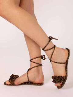 Leopard Ruffle Band Open Toe Ankle Wrap Sandals