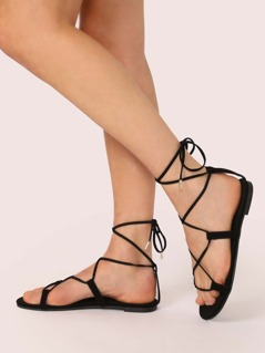 Open Toe Lace Up Gladiator Style Sandals