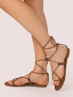 Lace Up Ankle Wrap Gladiator Flat Sandals
