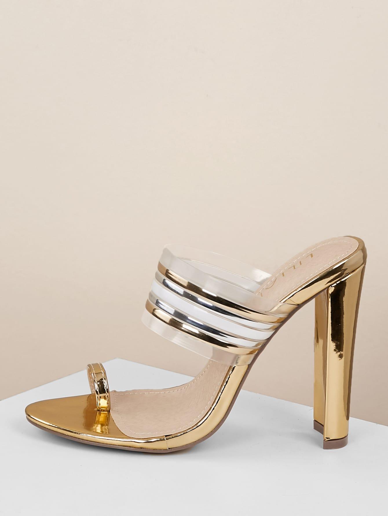 Toe Band Stripe Ring Sandals Metallic Heeled Ok8n0wP