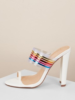 Rainbow Stripe Band Toe Ring Heeled Sandals