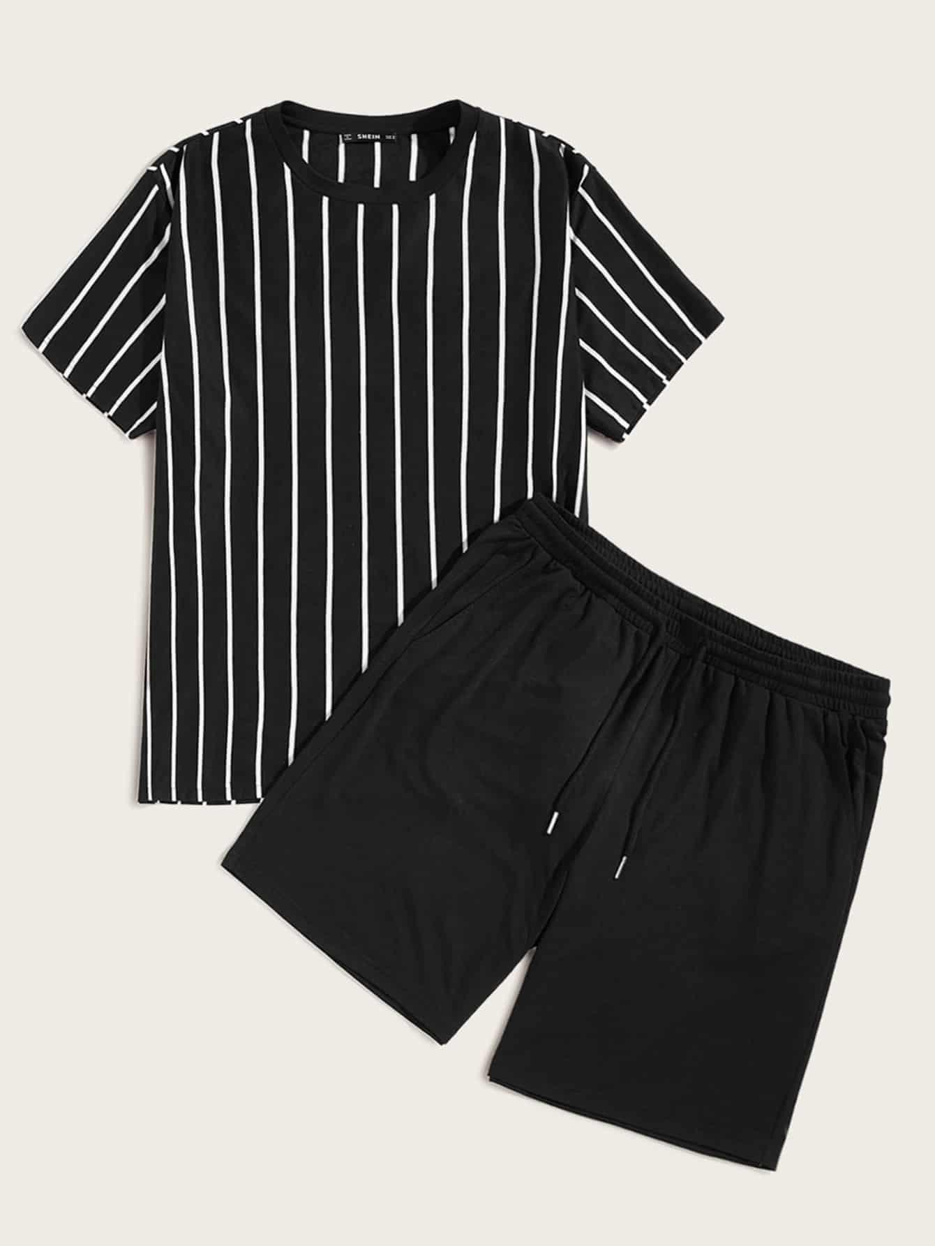 Фото - Мужская полосатая футболка и шорты с поясом от SheIn черного цвета