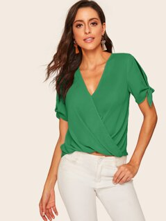 Knot Split Sleeve Surplice Wrap Top