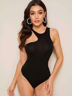 Solid Asymmetrical Neck Fitted Bodysuit