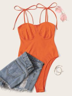 Neon Orange Knot Shoulder Bustier Bra Bodysuit