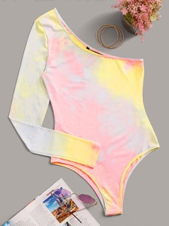 One Shoulder Tie Dye Fitted Bodysuit