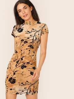 Mock Neck Floral Print Tie Dye Fitted Dress