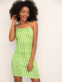 Neon Lime Greek Fret Print Slip Dress