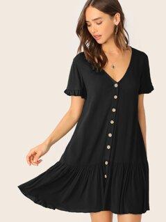 Ruffle Cuff and Hem Button Up Dress