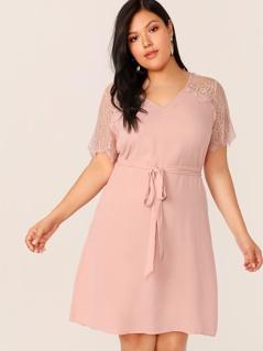 Plus Eyelash Lace Trim Self Belted Dress