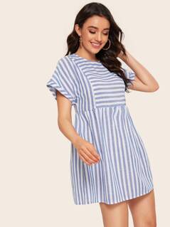 Rolled Cuff Keyhole Back Striped Dress