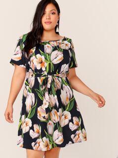 Plus Floral Print Belted Dress
