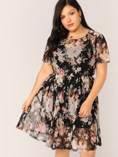 Plus Floral Print Sheer Dress Without Cami