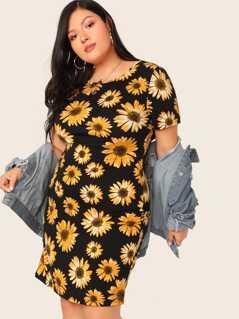 Plus Floral Print Dress