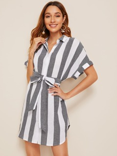 Cuffed Belted Striped Shirt Dress