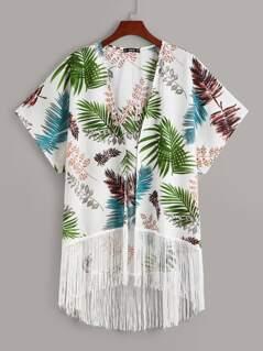 Plus Fringe Hem Jungle Print Kimono