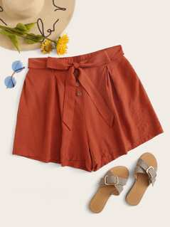 Plus Solid Wide Leg Belted Shorts