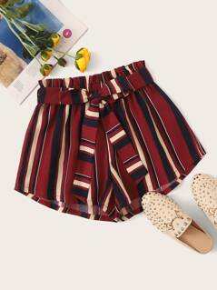 Paperbag Waist Belted Striped Shorts