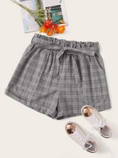 Plus Paperbag Waist Rolled Hem Glen Plaid Belted Shorts