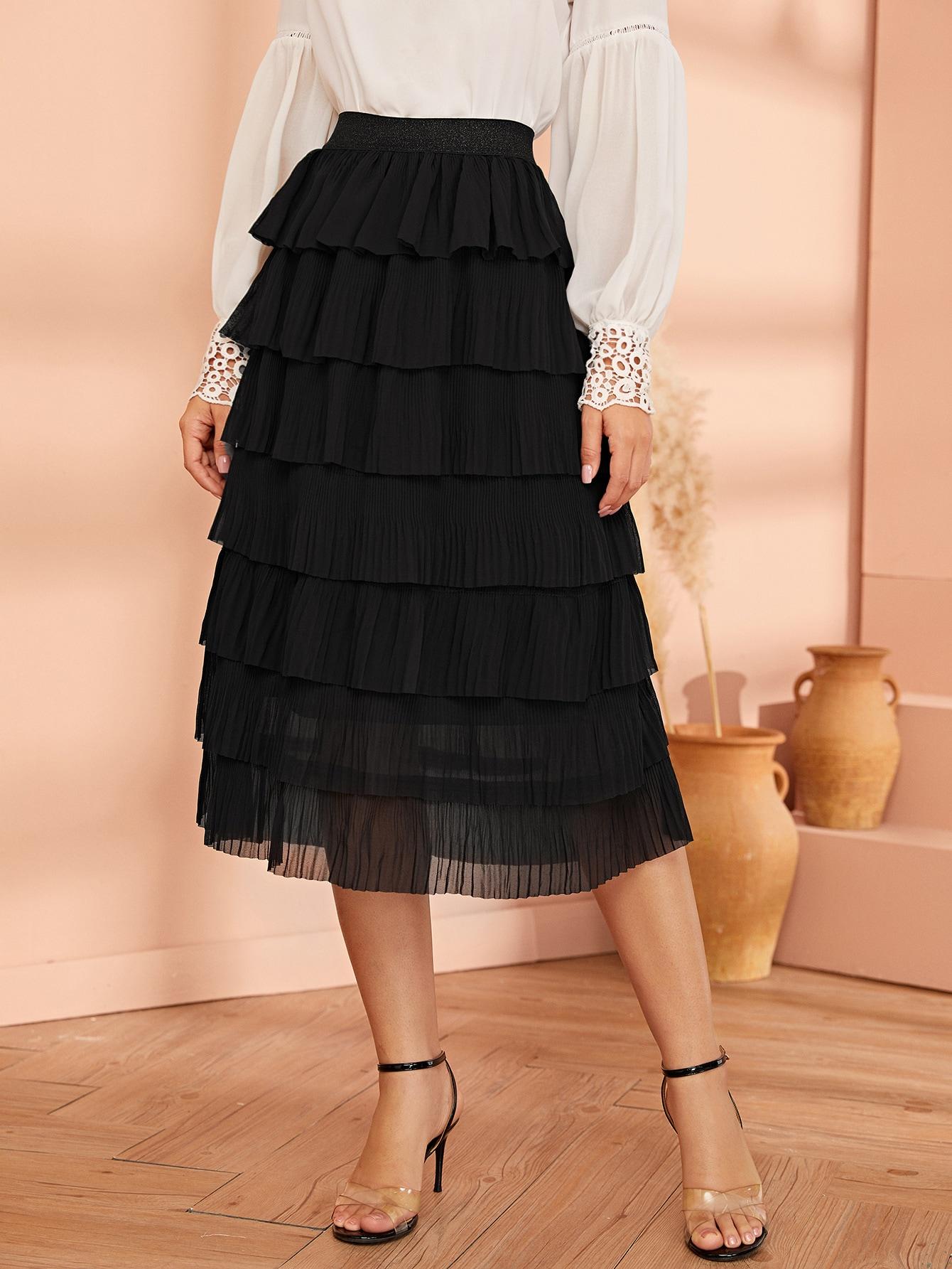 Многослойная юбка с поясом и блестками