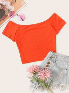 Neon Orange Off Shoulder Rib-knit Crop Top