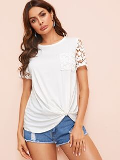 Pocket Patched Guipure Lace Sleeve Twist Hem Tee