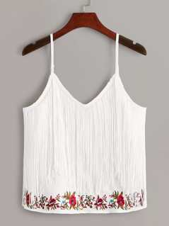 Fringe Trim Embroidery Cami Top