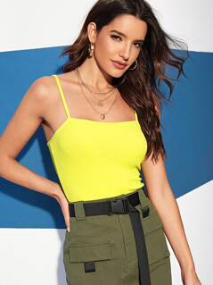 Neon Yellow Rib-knit Cami Top