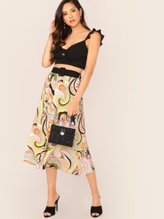 Belted Waist Paisley Print Flared Midi Skirt
