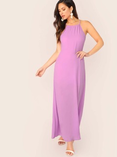 Halter Neck Back Keyhole Tie Sleeveless Maxi Dress